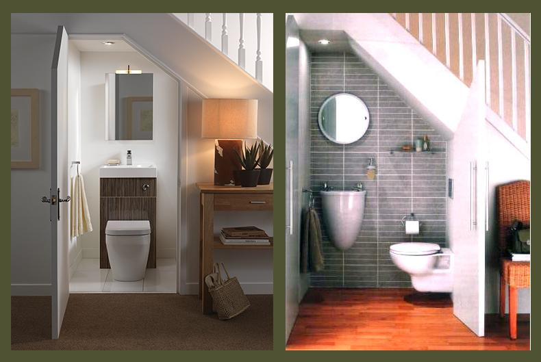 Ba o debajo de escalera con ducha for Decoracion de espacios bajo la escalera